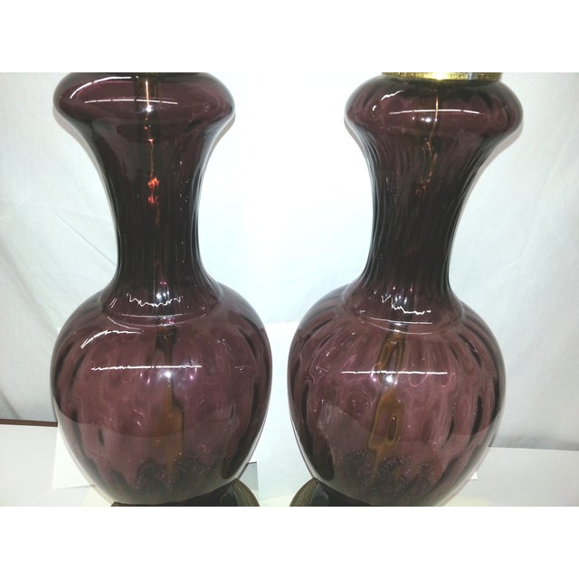 Amethyst Blown Glass Mid-Century Lamps - Pair - Image 3 of 4