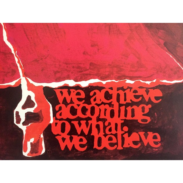"""1970s Rare Vintage 1973 Mid Century Modern Lithograph Print Poster """" We Achieve According to What We Believe """" For Sale - Image 5 of 8"""