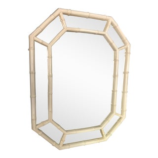 Hollywood Regency Faux Bamboo Octagonal Wall Mirror For Sale