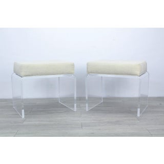Pair of Cream Waterfall Lucite & Chenille Benches Preview