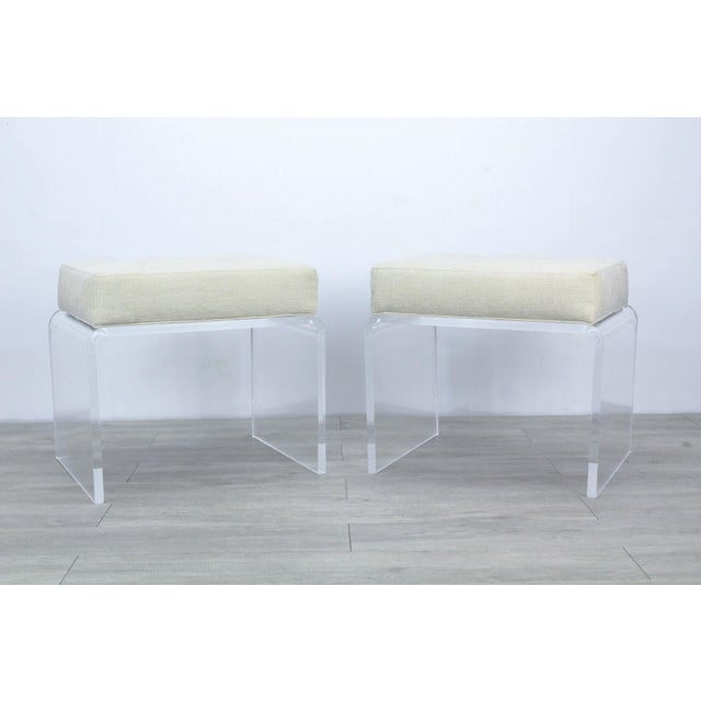Stunning pair of minimalist waterfall Lucite benches with luxurious cream chenille cushion tops Custom made, in excellent...