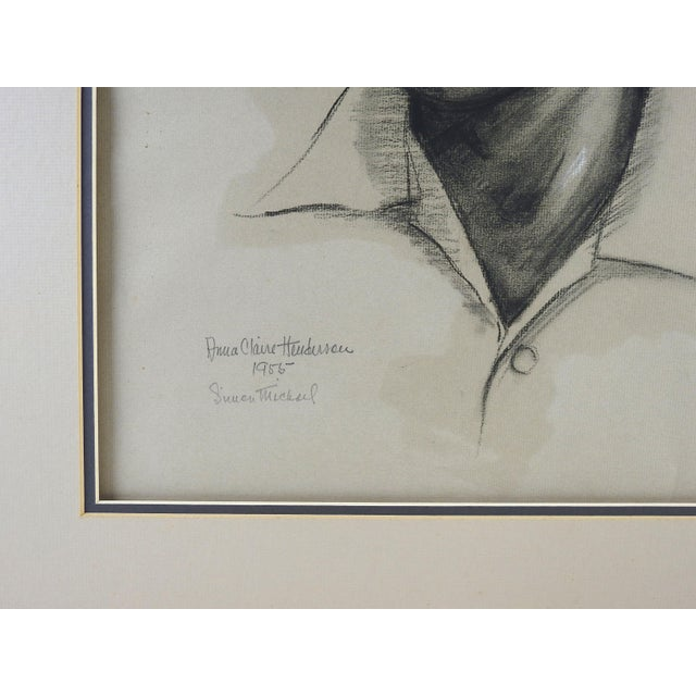 Charcoal Portrait by Anna Claire Henderson, 1955 For Sale - Image 4 of 4