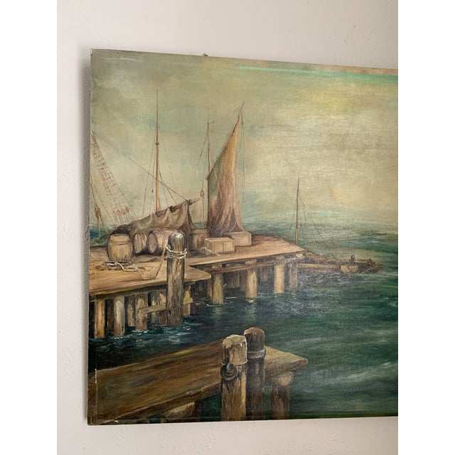 1950s Rustic Vintage Sailing Ship Painting Oil on Canvas Signed by Artist J H Johnson For Sale - Image 5 of 13