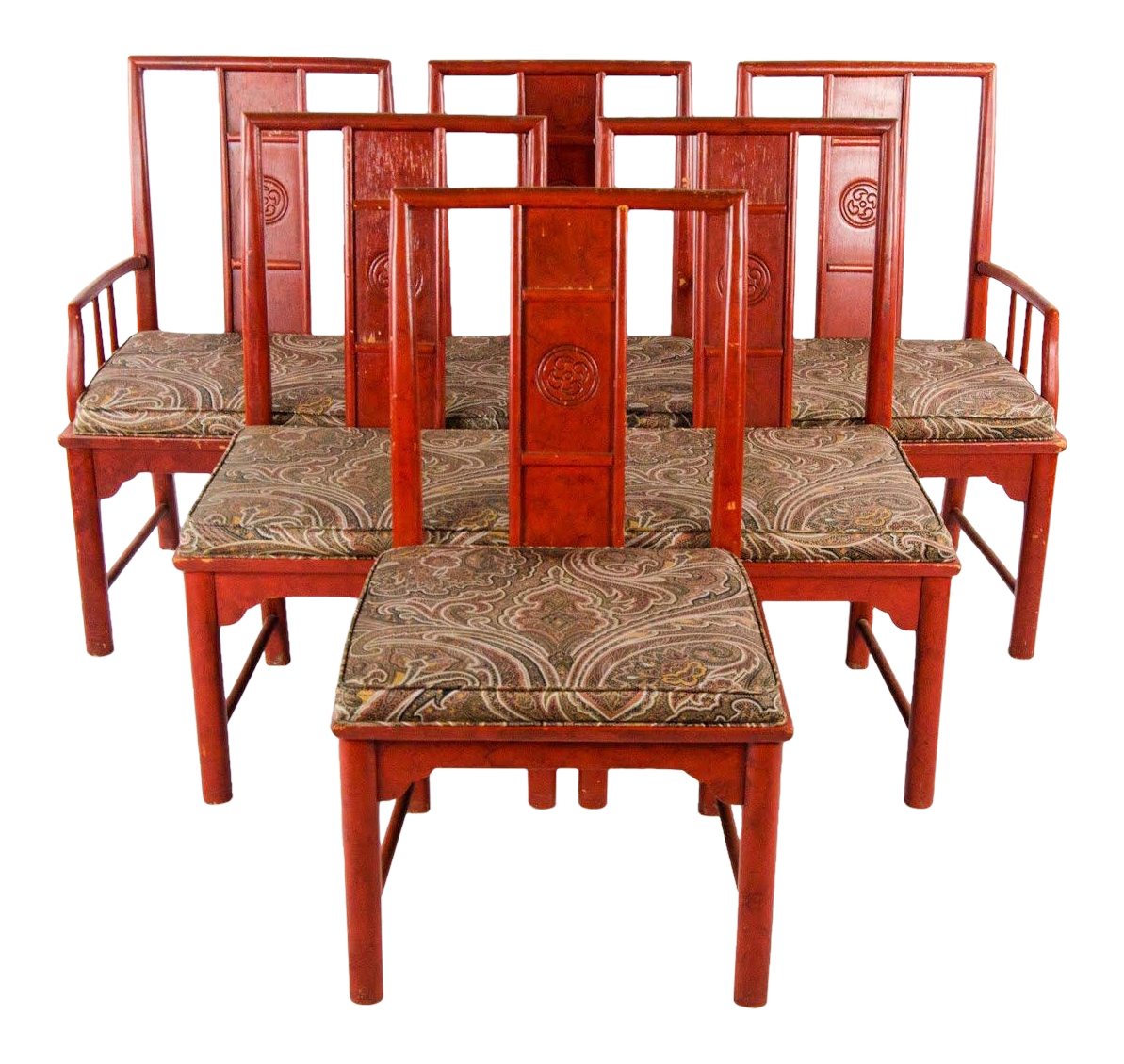 Red lacquered furniture Lacquering Early 20th Century Vintage Thomasville Chinese Style Red Lacquer And Upholstered Dining Chairs Set Of Chairish Early 20th Century Vintage Thomasville Chinese Style Red Lacquer And