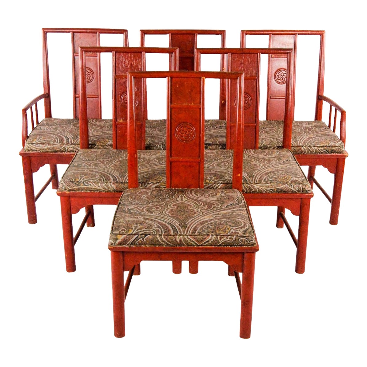 Early 20th century vintage thomasville chinese style red lacquer and upholstered dining chairs set of 6 chairish