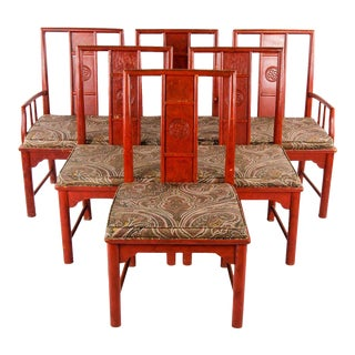 Early 20th Century Vintage Thomasville Chinese Style Red Lacquer and Upholstered Dining Chairs - Set of 6 For Sale