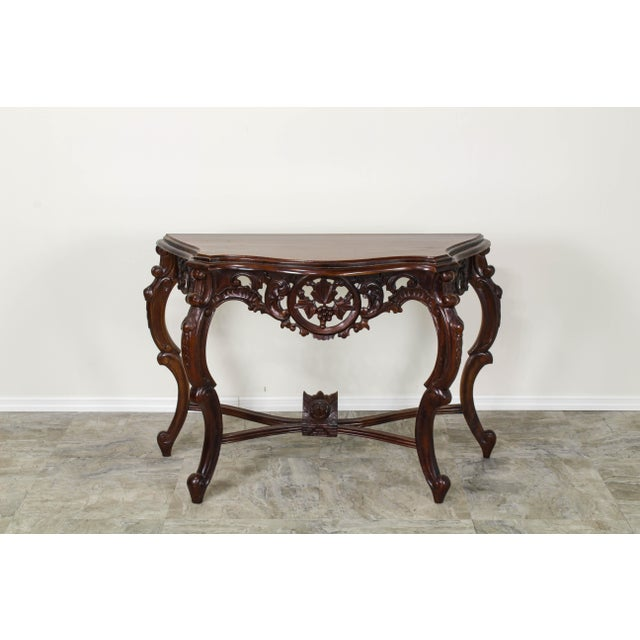 Elegant traditional ornate carved wood console table this solid built console has beautiful hand-carved detail all thru it...