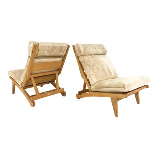 C. 1969 Hans Wegner for Ap Stolen Ap71 Lounge Chairs Restored in Brazilian Cowhide - Pair