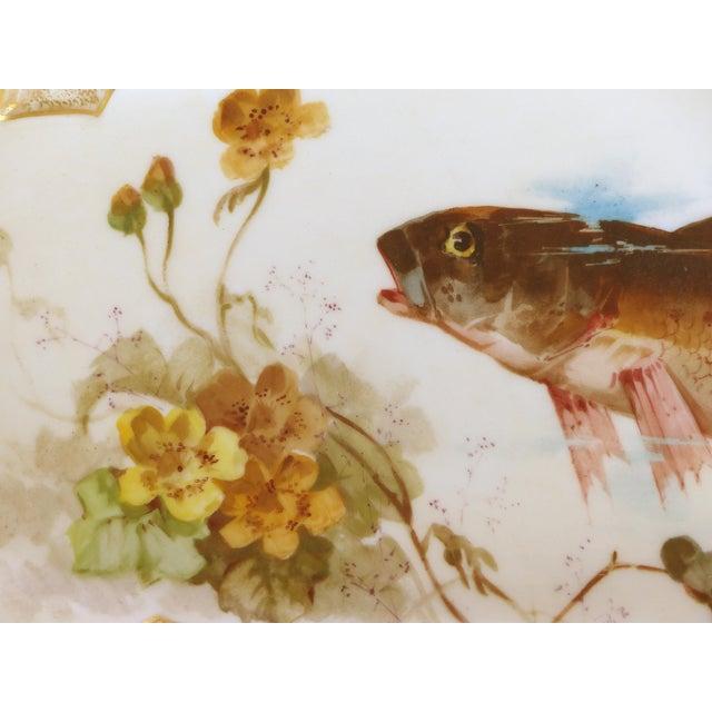 1900 J. Etienne Hand-Painted Limoges Porcelain Fish Platter For Sale - Image 5 of 11
