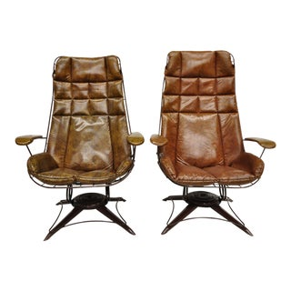 Vintage Homecrest Brown Vinyl on Iron Wire Patio Lounge Armchairs - a Pair For Sale