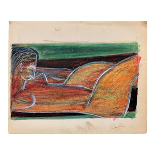 """Donald Stacy """"Orange Nude Lounging"""" C.1950s Oil Pastel and Gouache Mid Century Painting For Sale"""