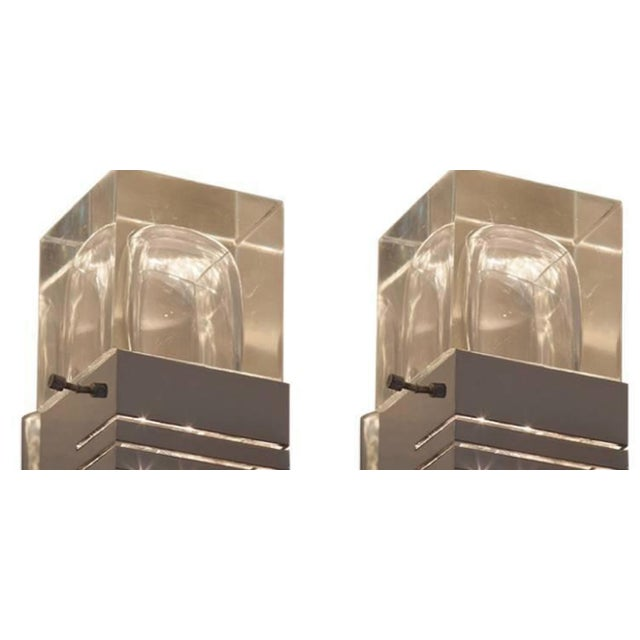 Pair of Midcentury Italian Glass and Chrome Sconces - Image 2 of 3