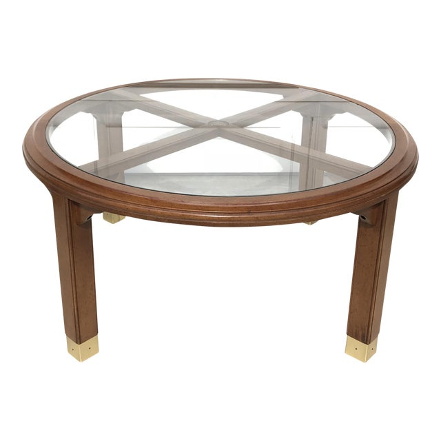 Round Brass, Wood & Glass Coffee Table - Image 1 of 4
