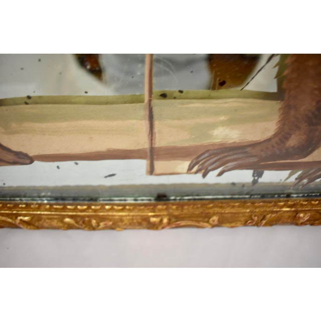 Metal 19th C. French Exotic Hand-Painted Decoupage Mirror, Animal Trainer & Bear For Sale - Image 7 of 13