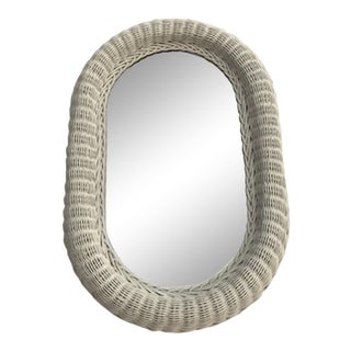 1980s Vintage White Wicker Wall Oval Mirror For Sale