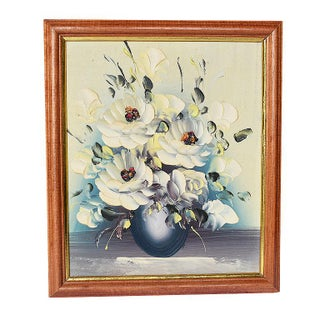 Framed Textural Floral Bouquet Oil on Canvas Painting in White and Cream For Sale