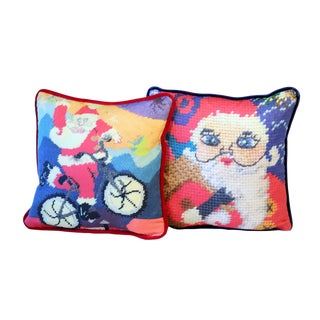 Santa Claus Velvet Pillows - a Pair, Feather Down, Last Call! For Sale