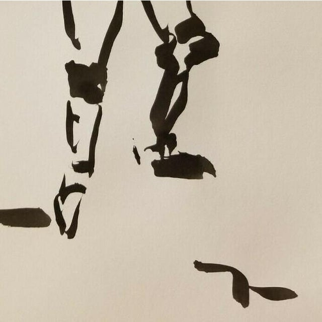 Impressionism Black Ink Wash on Paper Collectible Fencing Figure by Jose Trujillo For Sale - Image 4 of 5