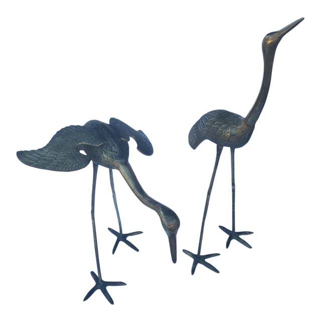 Mid Century Large Brass Cranes - Pair - Image 1 of 4