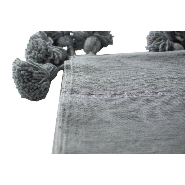 Moroccan Pom Pom Blanket, Silver on Gray With Grey Pom Poms For Sale - Image 4 of 4
