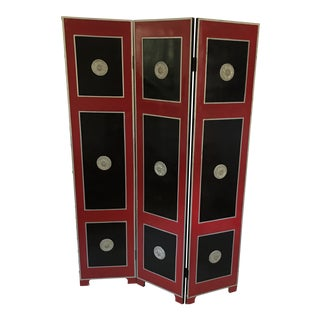 Hollywood Regency Red Lacquer Room Divider For Sale