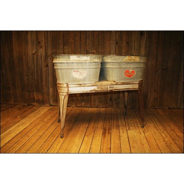 Vintage Galvanized Metal Double Basin Wash Tub Stand. Solid galvanized steel with zinc coat. Nice original Wheeling...