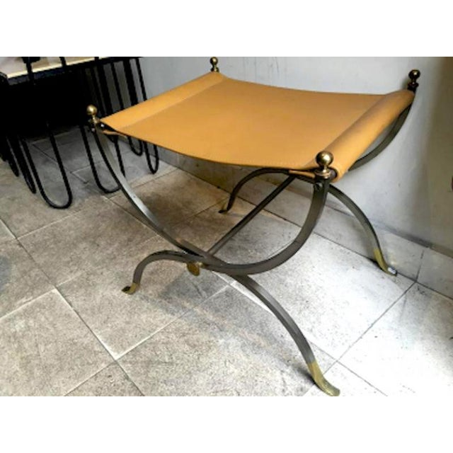 Hollywood Regency Maison Charles Pair of Bronze, Steel and Leather Folding Pure Pair of Stools For Sale - Image 3 of 4