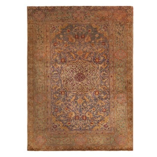 Antique Kayseri Traditional Beige, Lavender and Green Silk Rug 4′5″ × 6′2″ For Sale