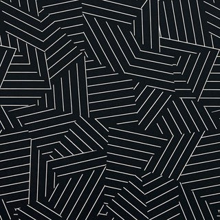 Sample - Schumacher Deconstructed Stripe Geometric Wallpaper in Ivory on Black For Sale