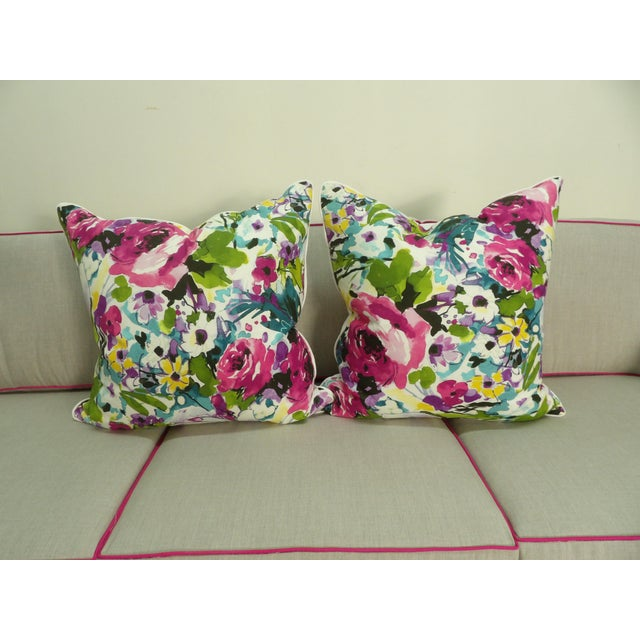 2020s Colorful Floral Pillows - a Pair For Sale - Image 5 of 5