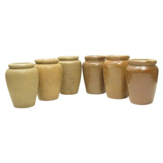 Antique English Olive Jars, S/6 For Sale