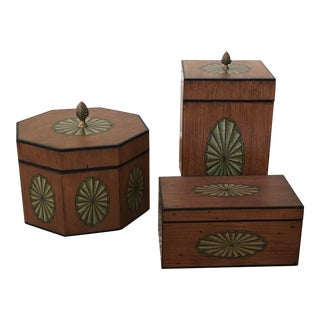 Maitland Smith Wood Boxes - Set of 3 For Sale
