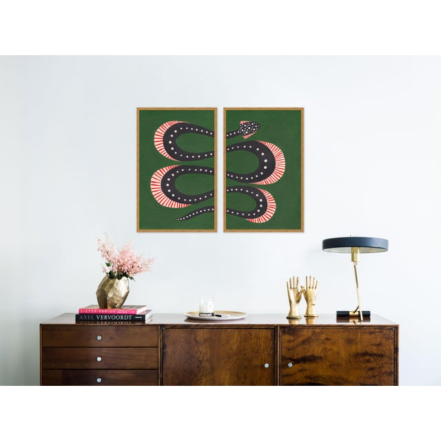 Willa Heart Zucchini the Snake by Willa Heart in Gold Framed Paper, Medium Art Print For Sale - Image 4 of 5