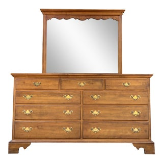 Ethan Allen 1776 Collection Maple Dresser & Mirror For Sale
