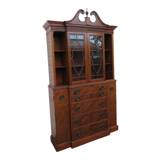 Mahogany China Closet Display Cabinet Cupboard and Desk by Maddox Furniture For Sale