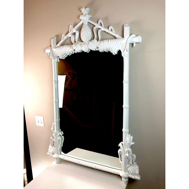Gampel & Stoll faux bamboo pineapple mirror. The ultimate Hollywood regency piece! We have refinished this in a super high...
