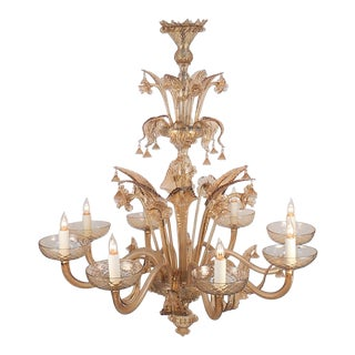 1950s Murano Venetian Amber Glass Chandelier For Sale