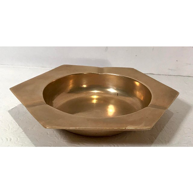 Nice modern design on this vintage brass ashtray.