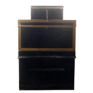 Antique Metal Cash Boxes, Set of 3 For Sale