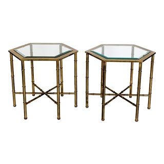 Petite Italian Brass Faux Bamboo Tables