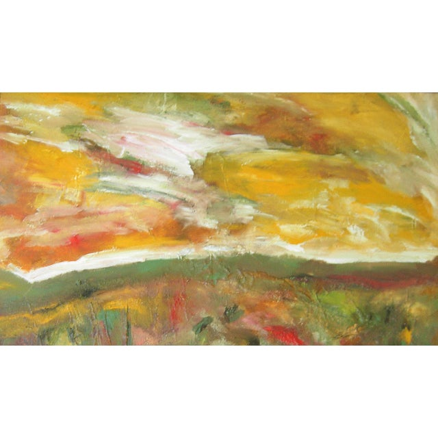 "Contemporary ""Meadowscape"" Original Abstract Floral Landscape Painting - Red Green Yellow Wall Art Decor For Sale - Image 3 of 6"