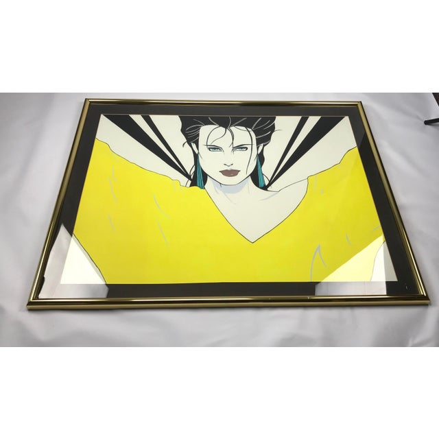 Patrick Nagel Inspired Original Painting - Woman in Yellow Sweater - Image 3 of 11