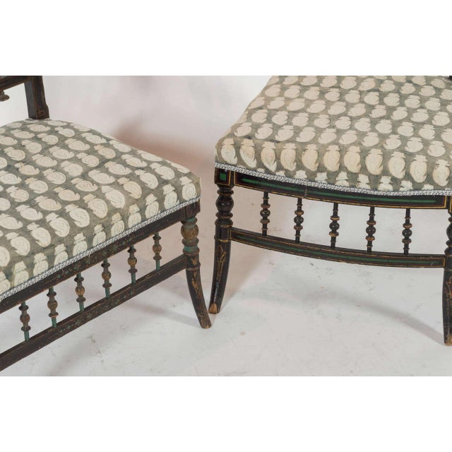 Fabric Pair of Antique Parlor Chairs For Sale - Image 7 of 9