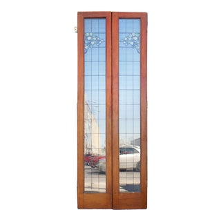 19th Century Leaded and Stained Glass French Doors - Set of 2 For Sale