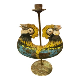 Mexican Tole Candleholder For Sale
