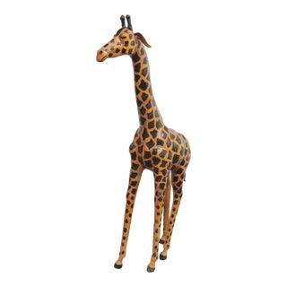 Contemporary Decorative Leather Giraffe Statue