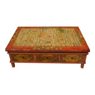 Chinese Painted Rust Red Orange Oriental Wooden Coffee Table For Sale