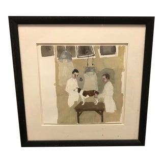 Framed Painting of a Dog at the Veterinarians Office For Sale