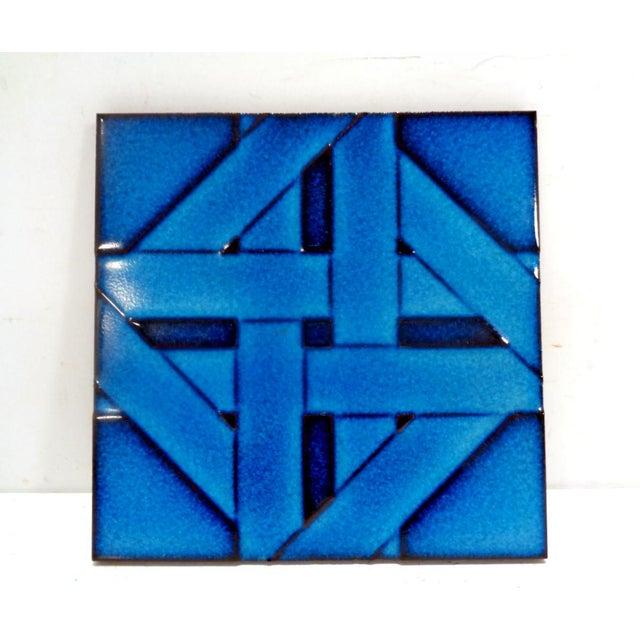 Mid Century Modern Cubism Cobalt Blue Italian Tile Trivet For Sale In Nashville - Image 6 of 6