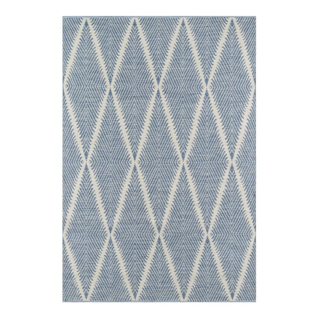 """Erin Gates by Momeni River Beacon Denim Indoor Outdoor Hand Woven Area Rug - 5' X 7'6"""" For Sale"""